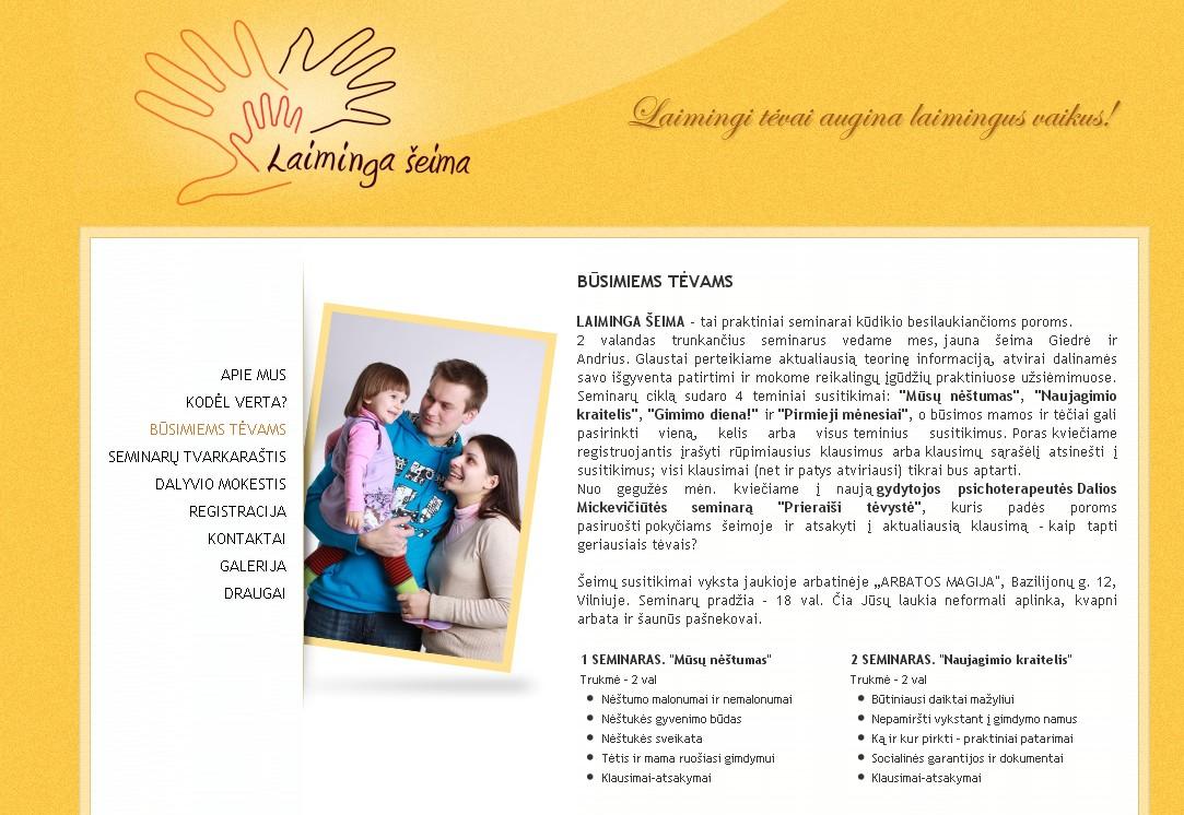 LAIMINGA ŠEIMA - kursai būsimiems tėvams