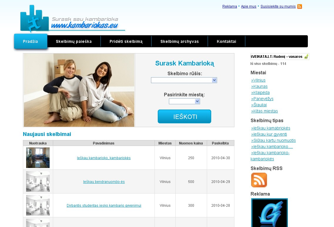 www.kambariokas.eu - greita kambariokų paieška