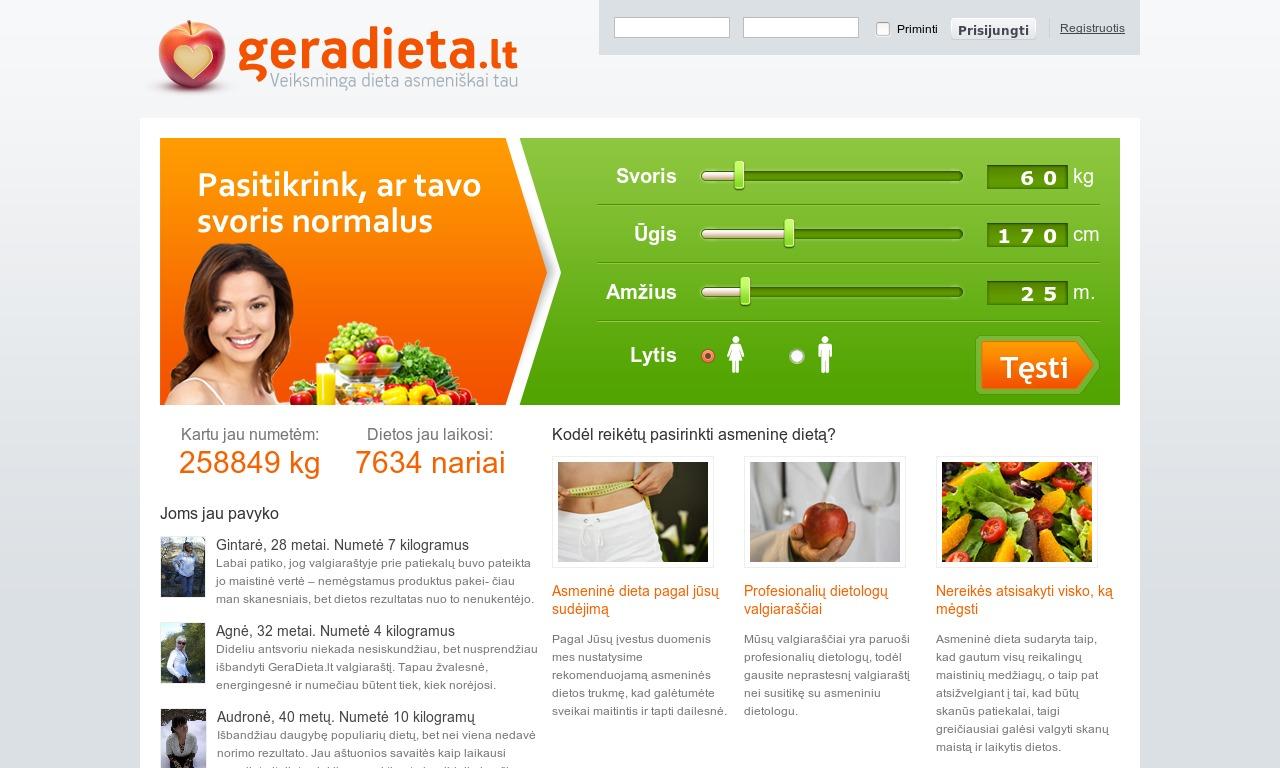 Gera dieta - dietos, svorio metimas, sveika mityba ir sveikas gyvenimo būdas