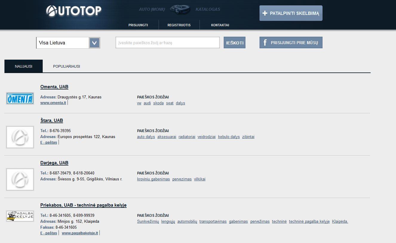 Autotop - auto įmonių katalogas